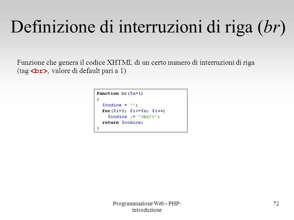 72 Definizione di interruzioni di riga (br) Funzione che genera il codice XHTML di un certo numero di interruzioni di riga (tag, valore di default par
