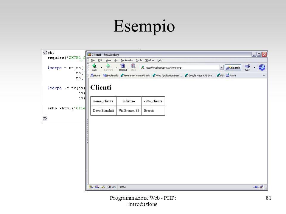 81 Esempio Programmazione Web - PHP: introduzione