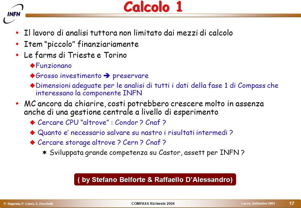 COMPASS Richieste 2004 P. Bagnaia, P. Cenci, S. Zucchelli Lecce, Settembre 2003 17 Calcolo 1  Il lavoro di analisi tuttora non limitato dai mezzi di