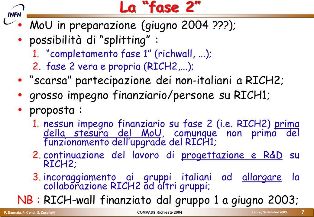 """COMPASS Richieste 2004 P. Bagnaia, P. Cenci, S. Zucchelli Lecce, Settembre 2003 7 La """"fase 2""""  MoU in preparazione (giugno 2004 ???);  possibilità d"""
