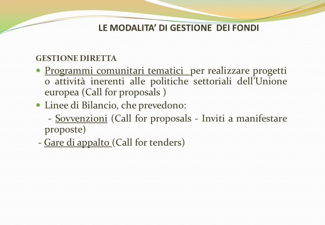 LE MODALITA' DI GESTIONE DEI FONDI GESTIONE DIRETTA Programmi comunitari tematici per realizzare progetti o attività inerenti alle politiche settorial