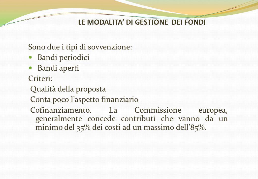 LE MODALITA' DI GESTIONE DEI FONDI Sono due i tipi di sovvenzione: Bandi periodici Bandi aperti Criteri: Qualità della proposta Conta poco l'aspetto finanziario Cofinanziamento.