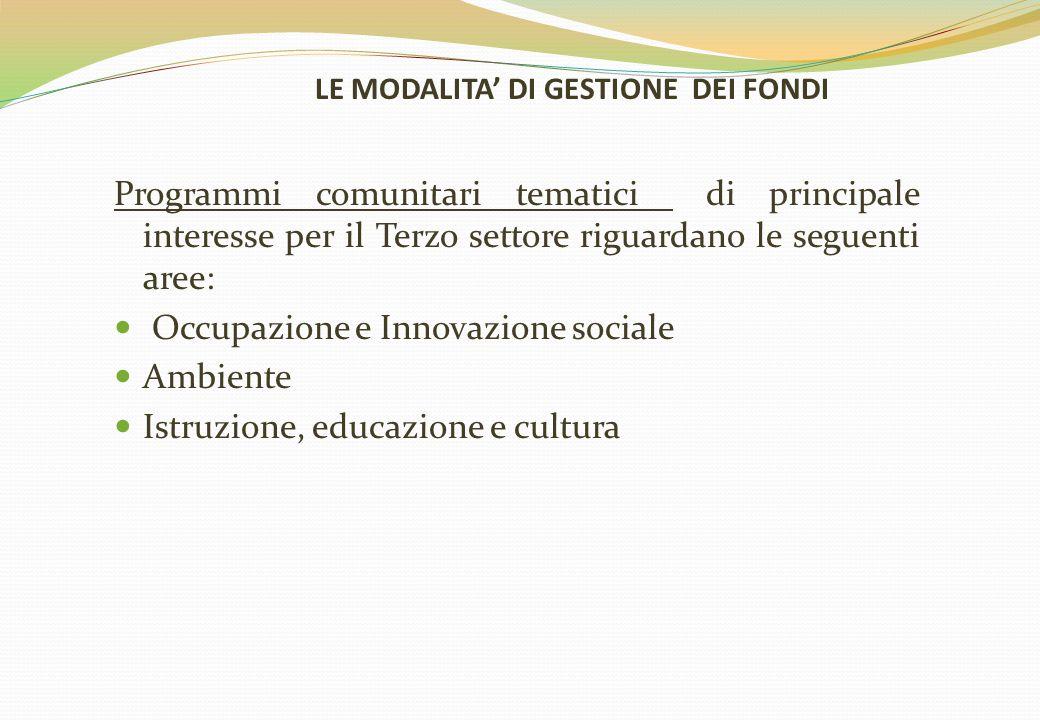 LE MODALITA' DI GESTIONE DEI FONDI Programmi comunitari tematici di principale interesse per il Terzo settore riguardano le seguenti aree: Occupazione e Innovazione sociale Ambiente Istruzione, educazione e cultura