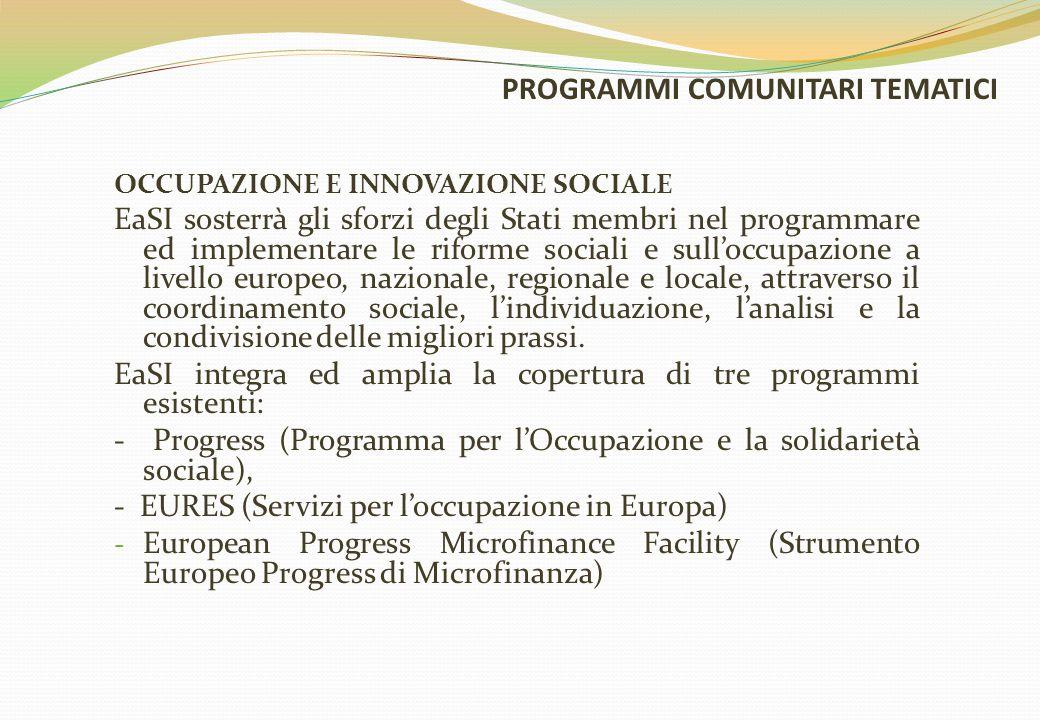 PROGRAMMI COMUNITARI TEMATICI OCCUPAZIONE E INNOVAZIONE SOCIALE EaSI sosterrà gli sforzi degli Stati membri nel programmare ed implementare le riforme sociali e sull'occupazione a livello europeo, nazionale, regionale e locale, attraverso il coordinamento sociale, l'individuazione, l'analisi e la condivisione delle migliori prassi.
