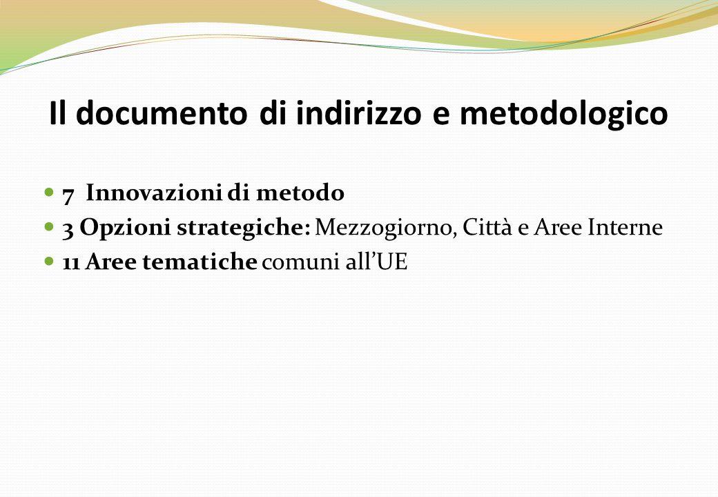 Il documento di indirizzo e metodologico 7 Innovazioni di metodo 3 Opzioni strategiche: Mezzogiorno, Città e Aree Interne 11 Aree tematiche comuni all'UE