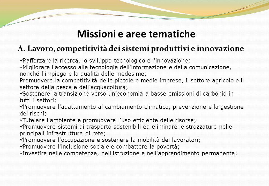 Missioni e aree tematiche A. Lavoro, competitività dei sistemi produttivi e innovazione Rafforzare la ricerca, lo sviluppo tecnologico e l'innovazione