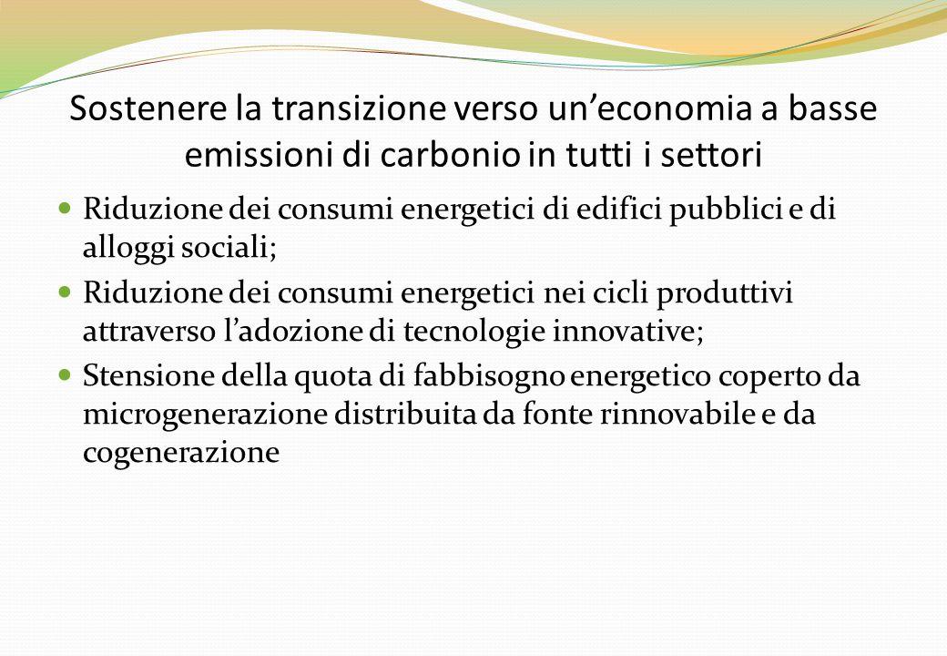 Sostenere la transizione verso un'economia a basse emissioni di carbonio in tutti i settori Riduzione dei consumi energetici di edifici pubblici e di