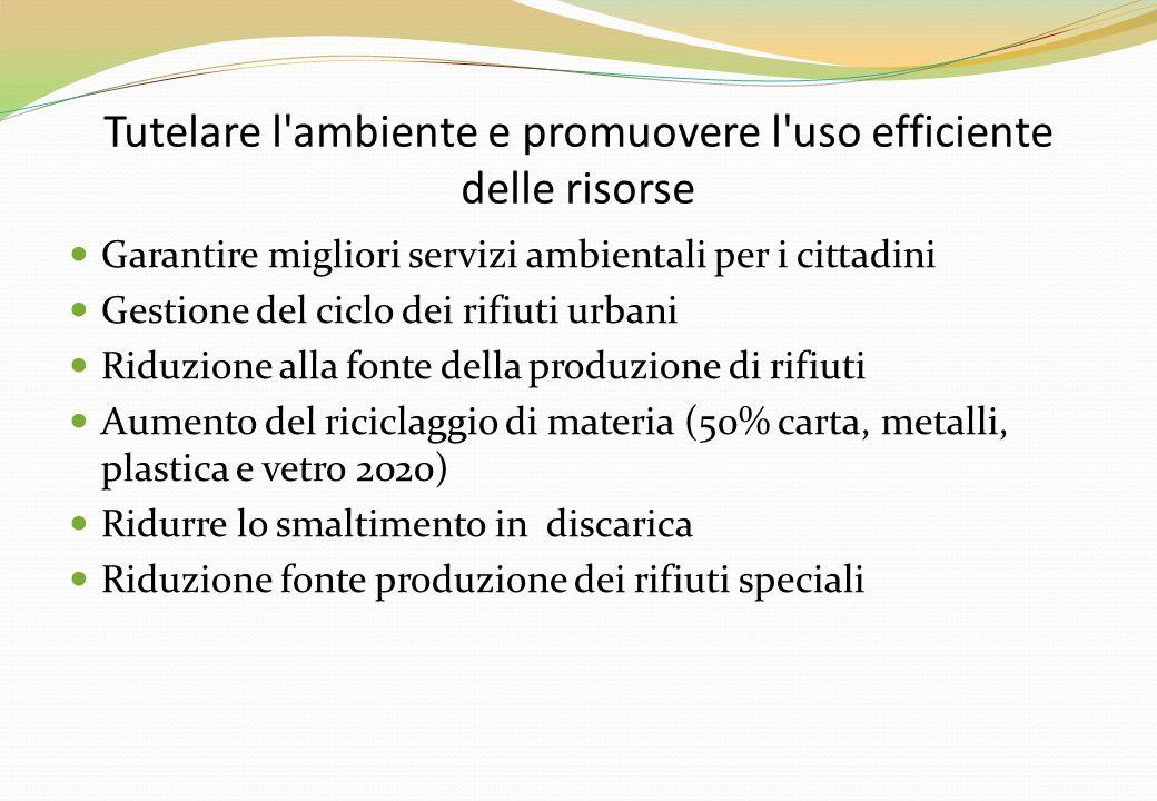 Tutelare l'ambiente e promuovere l'uso efficiente delle risorse Garantire migliori servizi ambientali per i cittadini Gestione del ciclo dei rifiuti u