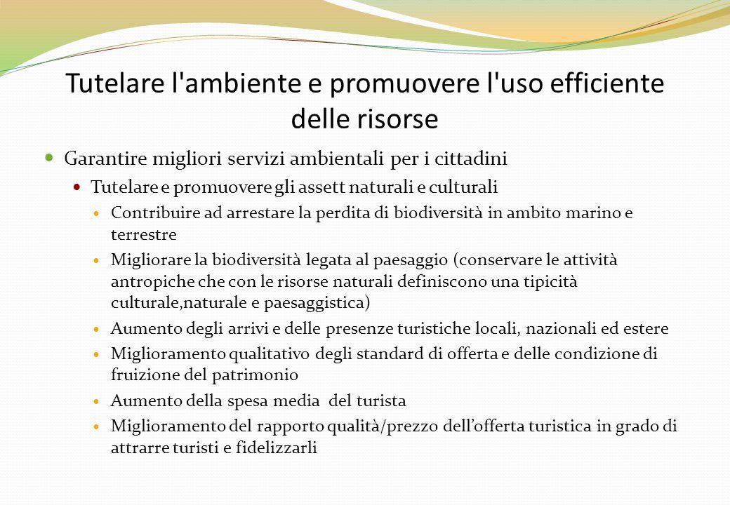 Tutelare l'ambiente e promuovere l'uso efficiente delle risorse Garantire migliori servizi ambientali per i cittadini Tutelare e promuovere gli assett