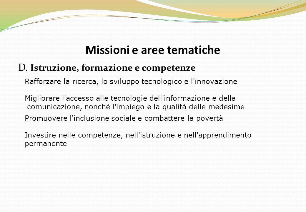 Missioni e aree tematiche D. Istruzione, formazione e competenze Rafforzare la ricerca, lo sviluppo tecnologico e l'innovazione Migliorare l'accesso a