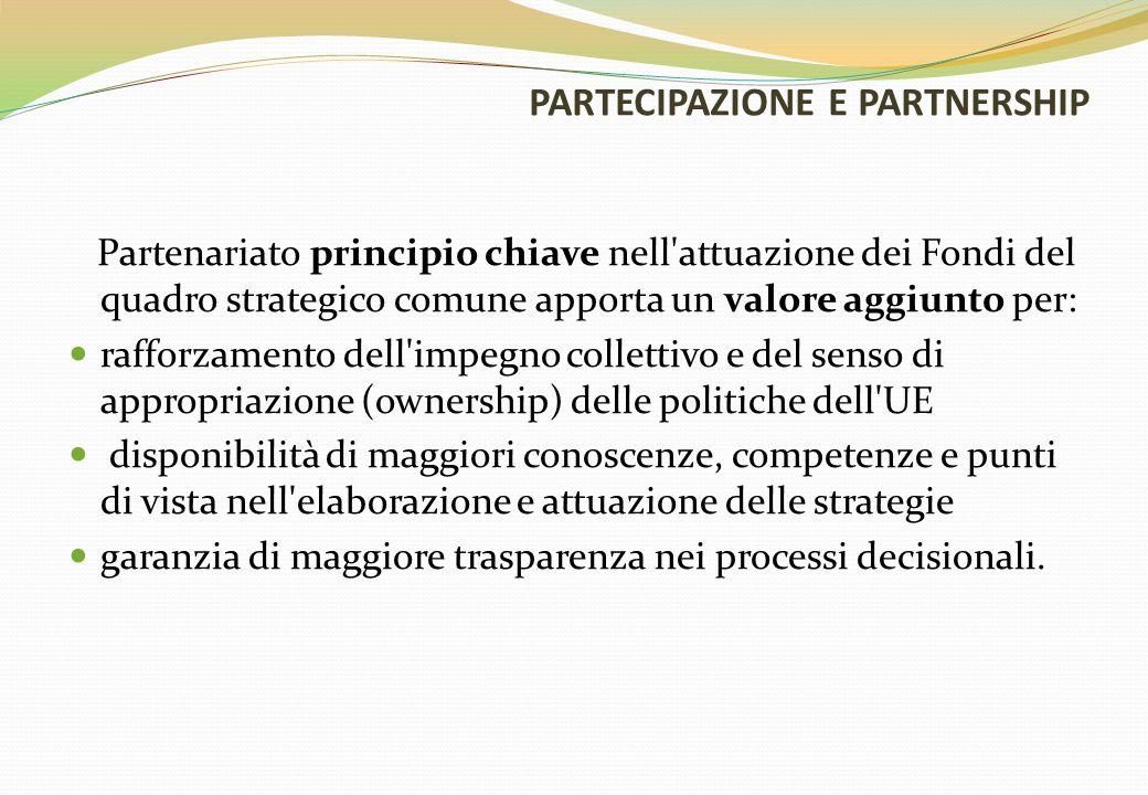 PARTECIPAZIONE E PARTNERSHIP Partenariato principio chiave nell attuazione dei Fondi del quadro strategico comune apporta un valore aggiunto per: rafforzamento dell impegno collettivo e del senso di appropriazione (ownership) delle politiche dell UE disponibilità di maggiori conoscenze, competenze e punti di vista nell elaborazione e attuazione delle strategie garanzia di maggiore trasparenza nei processi decisionali.