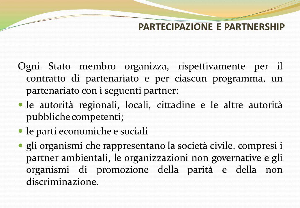PARTECIPAZIONE E PARTNERSHIP Ogni Stato membro organizza, rispettivamente per il contratto di partenariato e per ciascun programma, un partenariato co