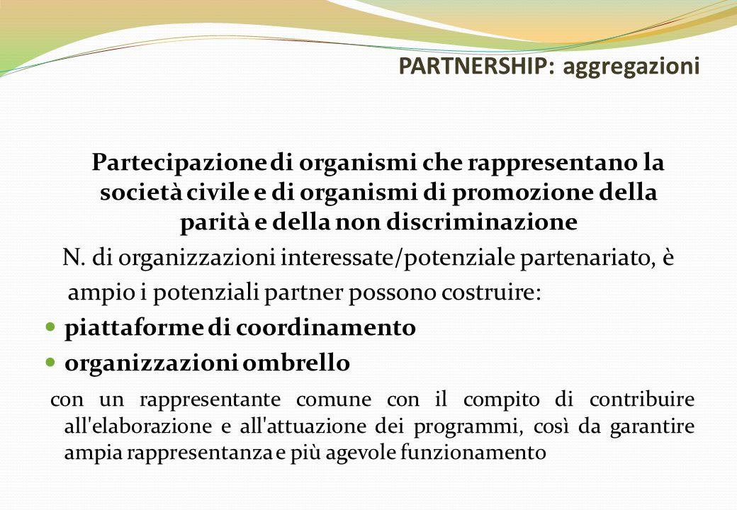 PARTNERSHIP: aggregazioni Partecipazione di organismi che rappresentano la società civile e di organismi di promozione della parità e della non discri