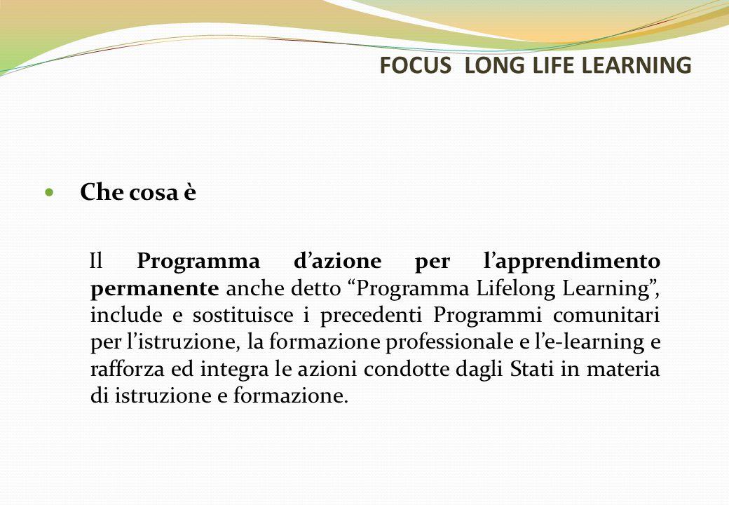 FOCUS LONG LIFE LEARNING Che cosa è Il Programma d'azione per l'apprendimento permanente anche detto Programma Lifelong Learning , include e sostituisce i precedenti Programmi comunitari per l'istruzione, la formazione professionale e l'e-learning e rafforza ed integra le azioni condotte dagli Stati in materia di istruzione e formazione.