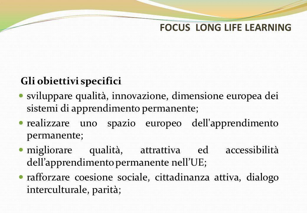 FOCUS LONG LIFE LEARNING Gli obiettivi specifici sviluppare qualità, innovazione, dimensione europea dei sistemi di apprendimento permanente; realizzare uno spazio europeo dell apprendimento permanente; migliorare qualità, attrattiva ed accessibilità dell'apprendimento permanente nell'UE; rafforzare coesione sociale, cittadinanza attiva, dialogo interculturale, parità;
