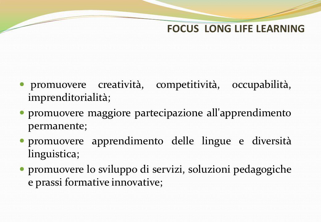FOCUS LONG LIFE LEARNING promuovere creatività, competitività, occupabilità, imprenditorialità; promuovere maggiore partecipazione all apprendimento permanente; promuovere apprendimento delle lingue e diversità linguistica; promuovere lo sviluppo di servizi, soluzioni pedagogiche e prassi formative innovative;
