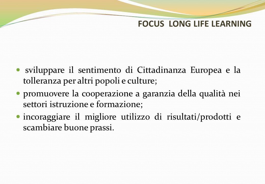 FOCUS LONG LIFE LEARNING sviluppare il sentimento di Cittadinanza Europea e la tolleranza per altri popoli e culture; promuovere la cooperazione a garanzia della qualità nei settori istruzione e formazione; incoraggiare il migliore utilizzo di risultati/prodotti e scambiare buone prassi.