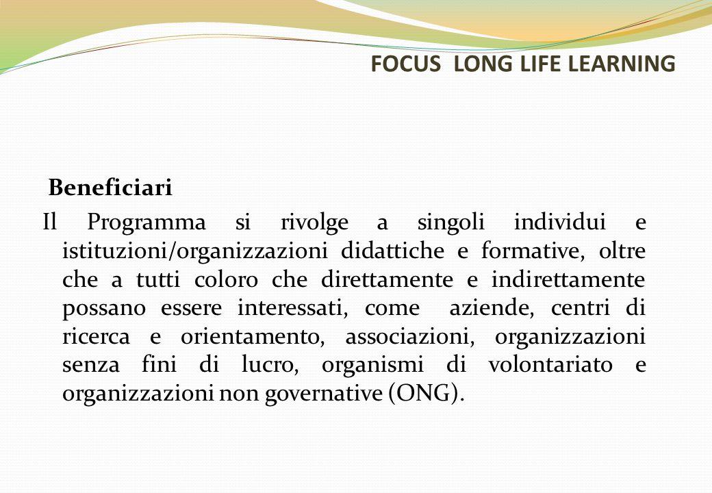 FOCUS LONG LIFE LEARNING Beneficiari Il Programma si rivolge a singoli individui e istituzioni/organizzazioni didattiche e formative, oltre che a tutt