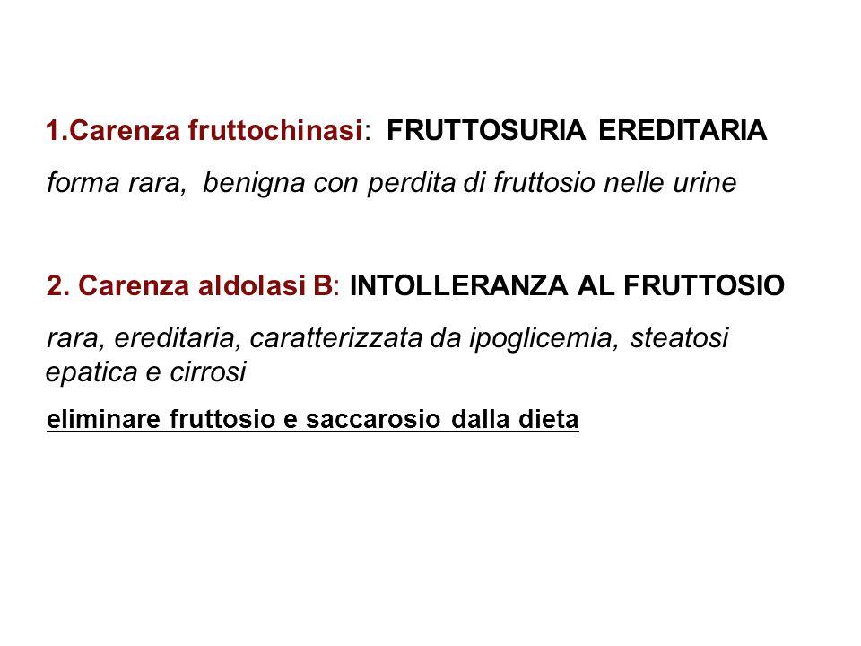 1.Carenza fruttochinasi: FRUTTOSURIA EREDITARIA forma rara, benigna con perdita di fruttosio nelle urine 2. Carenza aldolasi B: INTOLLERANZA AL FRUTTO