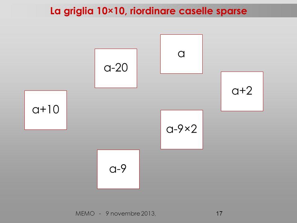 La griglia 10×10, riordinare caselle sparse MEMO - 9 novembre 2013, 17 a-20 a a-9×2 a+10 a+2 a-9