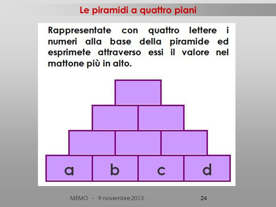 MEMO - 9 novembre 2013, 24 Le piramidi a quattro piani