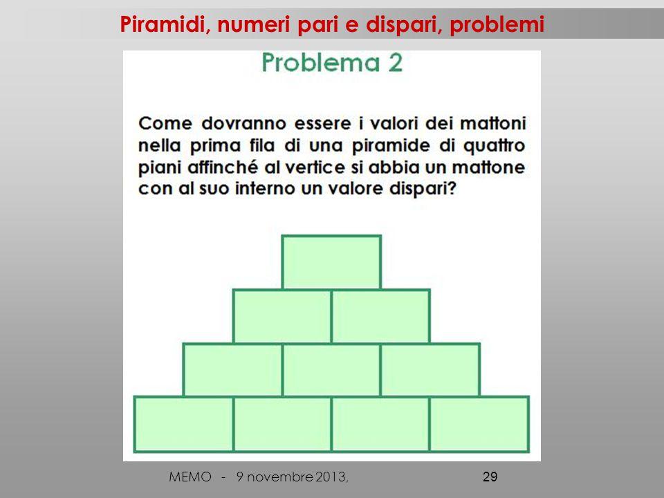 MEMO - 9 novembre 2013, 29 Piramidi, numeri pari e dispari, problemi