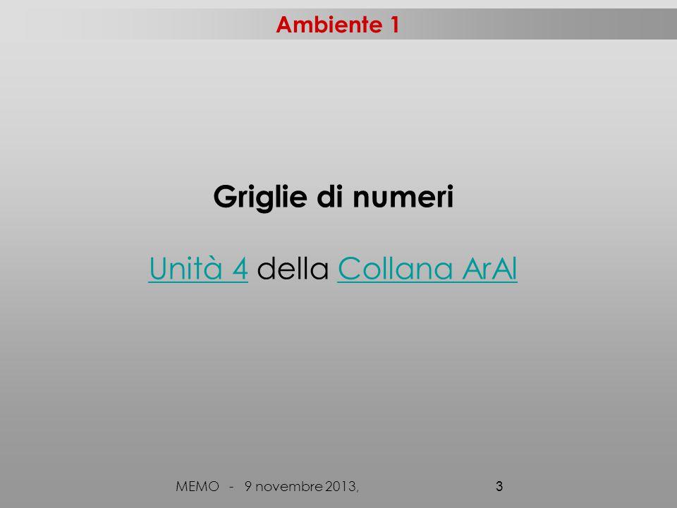 Ambiente 1 MEMO - 9 novembre 2013, 3 Griglie di numeri Unità 4Unità 4 della Collana ArAlCollana ArAl