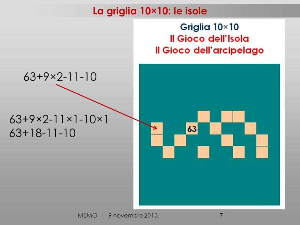 Procedendo nella generalizzazione MEMO - 9 novembre 2013, 18 10×10n×n a a-9 a+1 a-11 a+9 a a+10-1 a+n-1 a-(10+1) a-(n+1) a-(10-1) a-(n-1) a+1