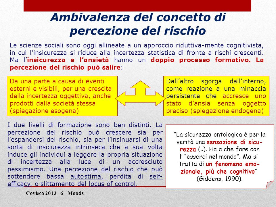 Ambivalenza del concetto di percezione del rischio Covisco 2013 - 6 - Moods 11 Le scienze sociali sono oggi allineate a un approccio riduttiva-mente cognitivista, in cui l'insicurezza si riduce alla incertezza statistica di fronte a rischi crescenti.