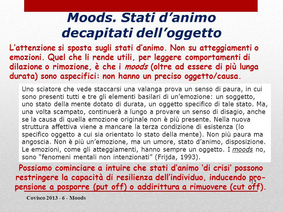 Distinguere emozioni & moods/1 Covisco 2013 - 6 - Moods 16 Supponiamo che una persona assista a un fenomeno catastrofico, come l'esplo- sione di una bomba o la caduta di una valanga, che minacci la sua stessa vita.