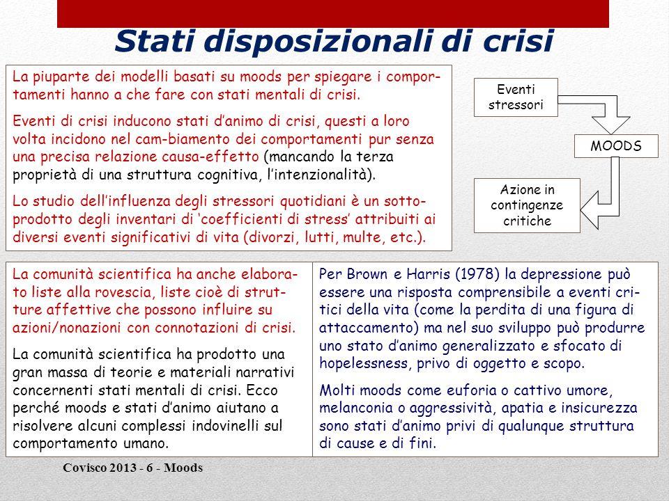 Stati disposizionali di crisi Covisco 2013 - 6 - Moods 20 La piuparte dei modelli basati su moods per spiegare i compor- tamenti hanno a che fare con stati mentali di crisi.