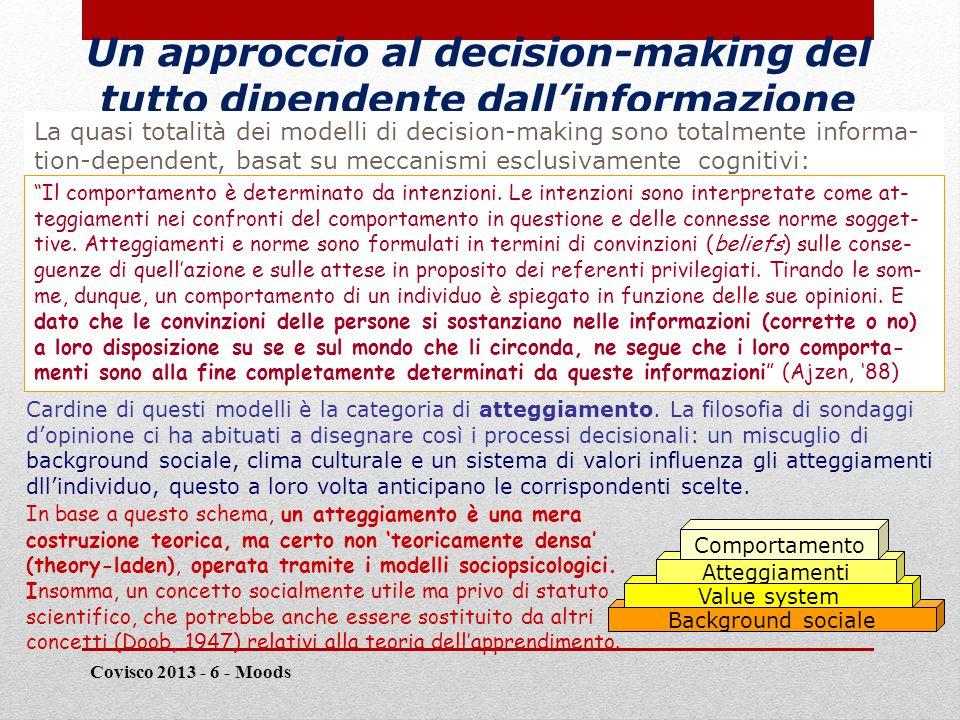 Un approccio al decision-making del tutto dipendente dall'informazione Covisco 2013 - 6 - Moods 8 La quasi totalità dei modelli di decision-making sono totalmente informa- tion-dependent, basat su meccanismi esclusivamente cognitivi: Il comportamento è determinato da intenzioni.
