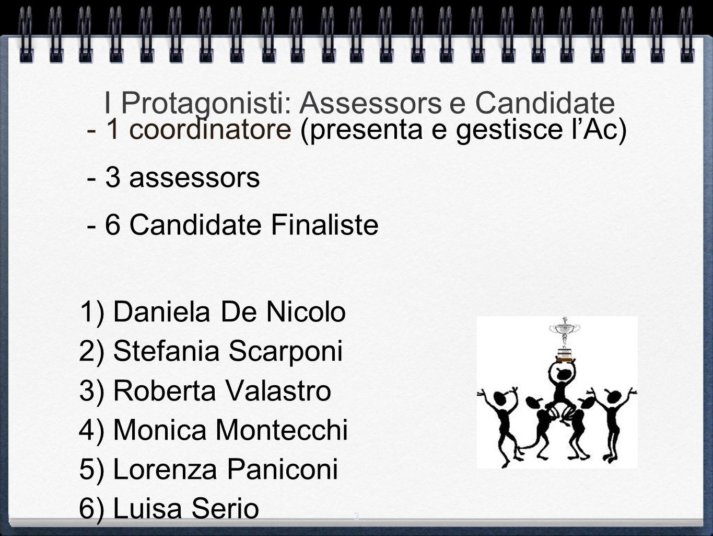 3 I Protagonisti: Assessors e Candidate - 1 coordinatore (presenta e gestisce l'Ac) - 3 assessors - 6 Candidate Finaliste 1) Daniela De Nicolo 2) Stef
