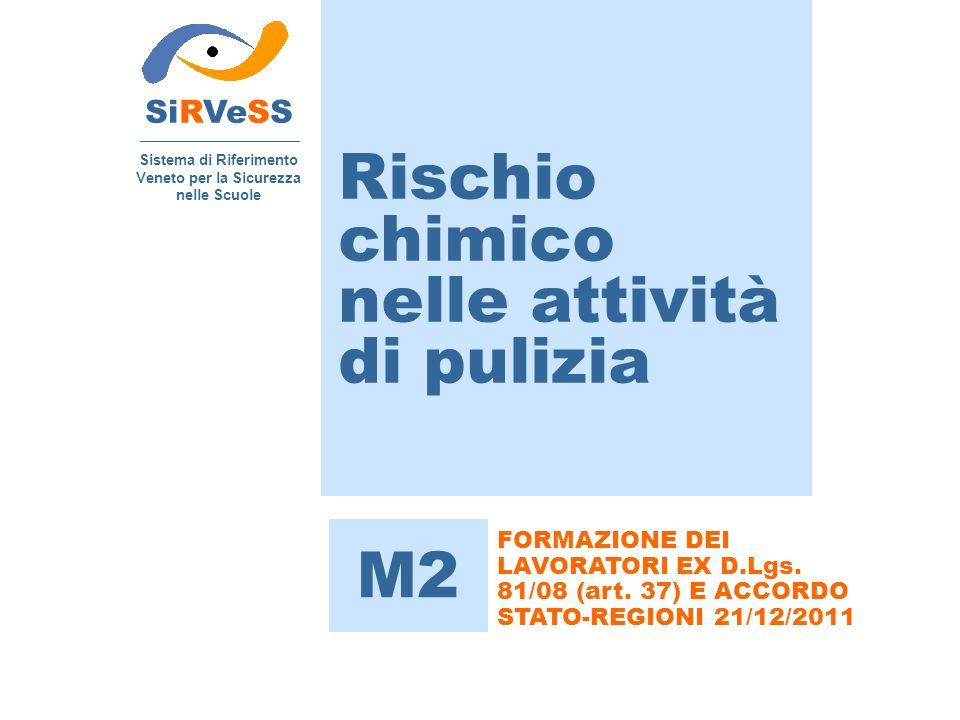 Rischio chimico nelle attività di pulizia SiRVeSS Sistema di Riferimento Veneto per la Sicurezza nelle Scuole M2 FORMAZIONE DEI LAVORATORI EX D.Lgs. 8