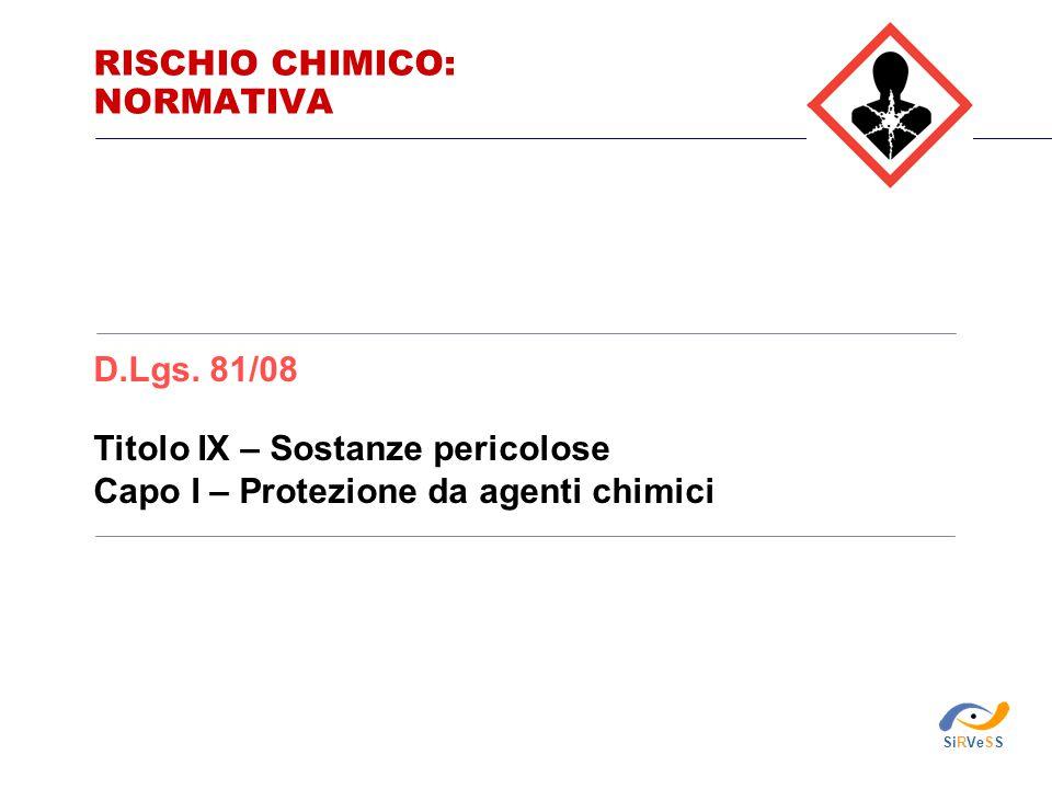Titolo IX – Sostanze pericolose Capo I – Protezione da agenti chimici D.Lgs. 81/08 RISCHIO CHIMICO: NORMATIVA SiRVeSS