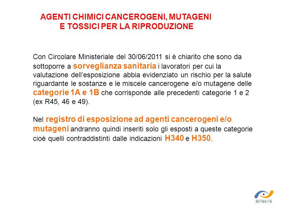 SiRVeSS AGENTI CHIMICI CANCEROGENI, MUTAGENI E TOSSICI PER LA RIPRODUZIONE Con Circolare Ministeriale del 30/06/2011 si è chiarito che sono da sottopo