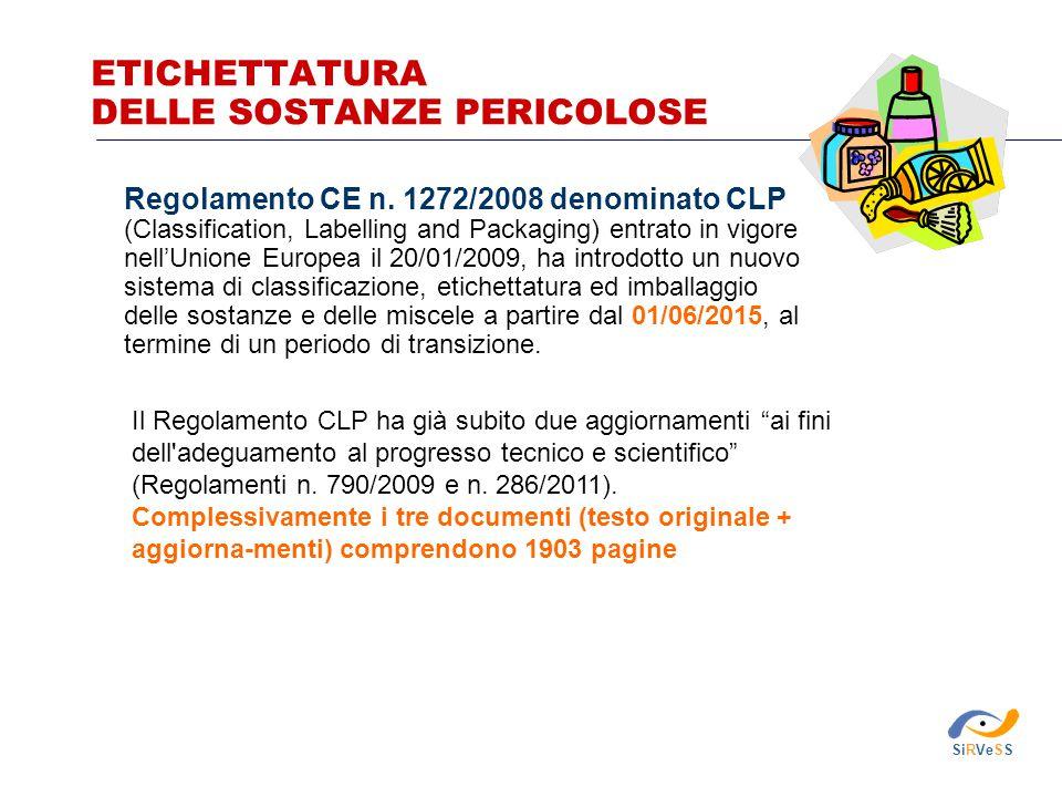 ETICHETTATURA DELLE SOSTANZE PERICOLOSE Regolamento CE n. 1272/2008 denominato CLP (Classification, Labelling and Packaging) entrato in vigore nell'Un