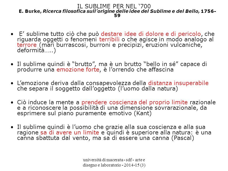 università di macerata - sdf - arte e disegno e laboratorio - 2014-15 (3) IL SUBLIME PER NEL '700 E.