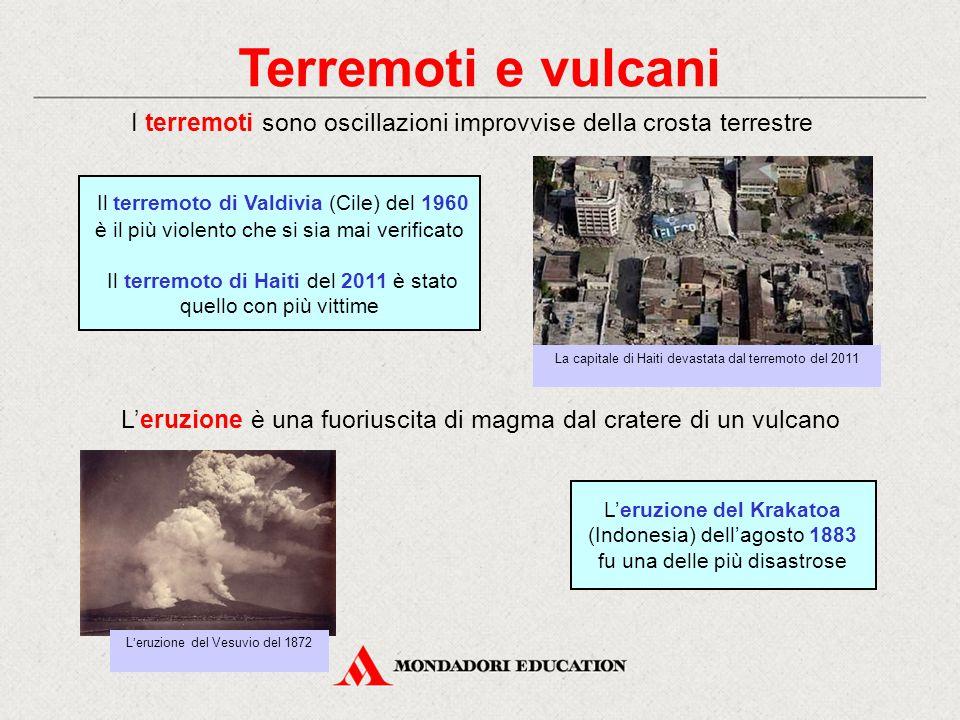 Terremoti e vulcani I terremoti sono oscillazioni improvvise della crosta terrestre L'eruzione è una fuoriuscita di magma dal cratere di un vulcano L'