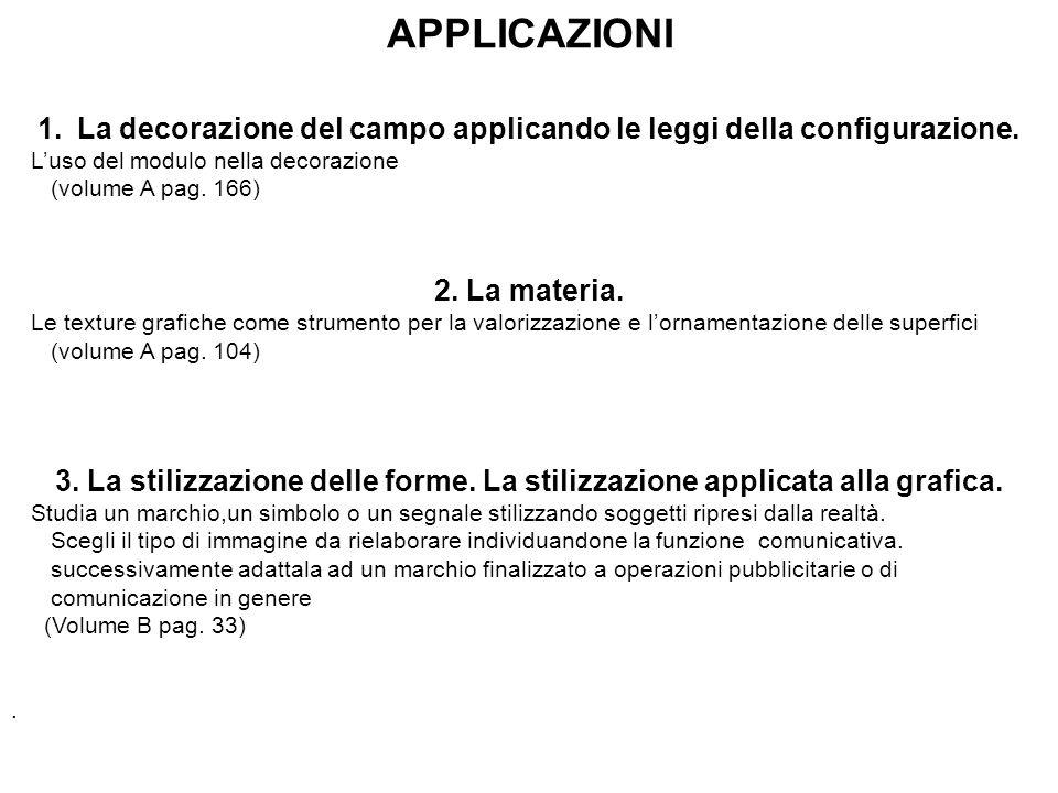 APPLICAZIONI 1.La decorazione del campo applicando le leggi della configurazione. L'uso del modulo nella decorazione (volume A pag. 166) 2. La materia
