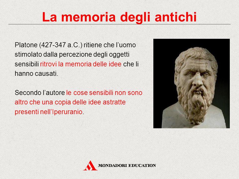 Platone (427-347 a.C.) ritiene che l'uomo stimolato dalla percezione degli oggetti sensibili ritrovi la memoria delle idee che li hanno causati. Secon