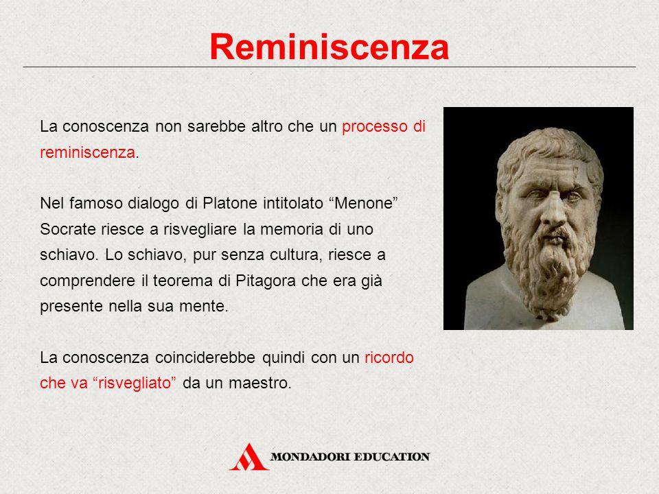 """La conoscenza non sarebbe altro che un processo di reminiscenza. Nel famoso dialogo di Platone intitolato """"Menone"""" Socrate riesce a risvegliare la mem"""