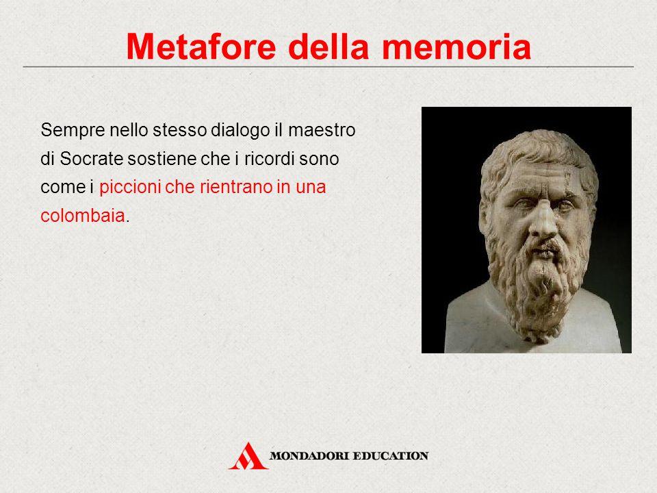Sempre nello stesso dialogo il maestro di Socrate sostiene che i ricordi sono come i piccioni che rientrano in una colombaia. Metafore della memoria