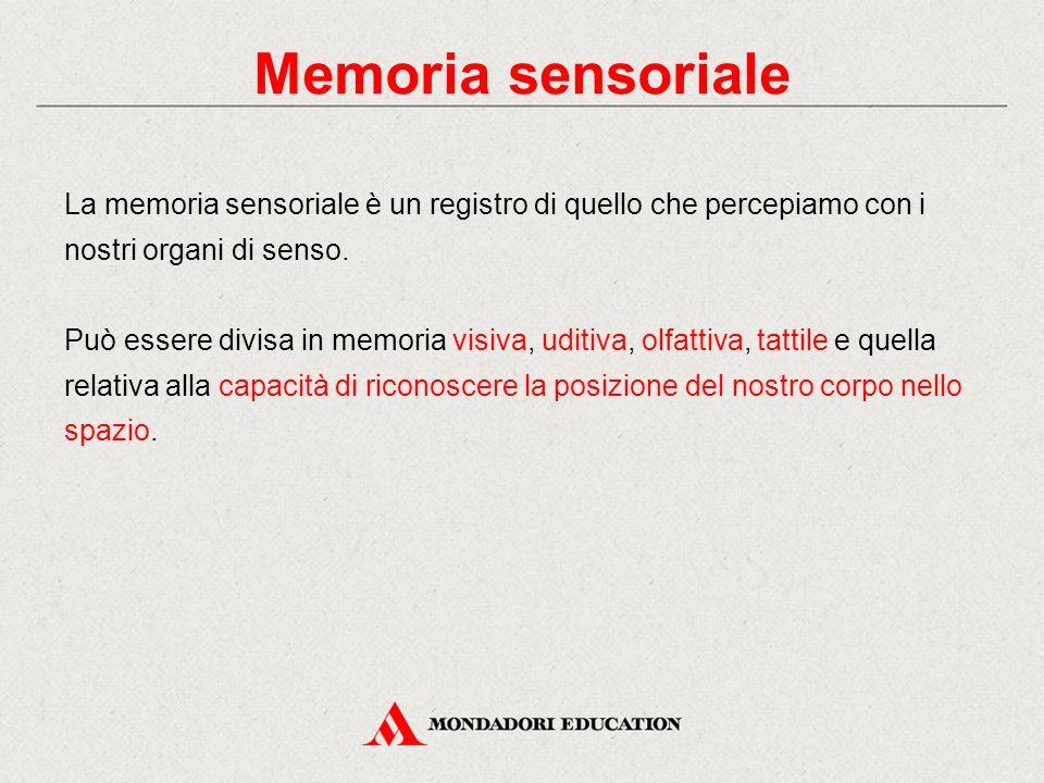 La memoria sensoriale è un registro di quello che percepiamo con i nostri organi di senso. Può essere divisa in memoria visiva, uditiva, olfattiva, ta