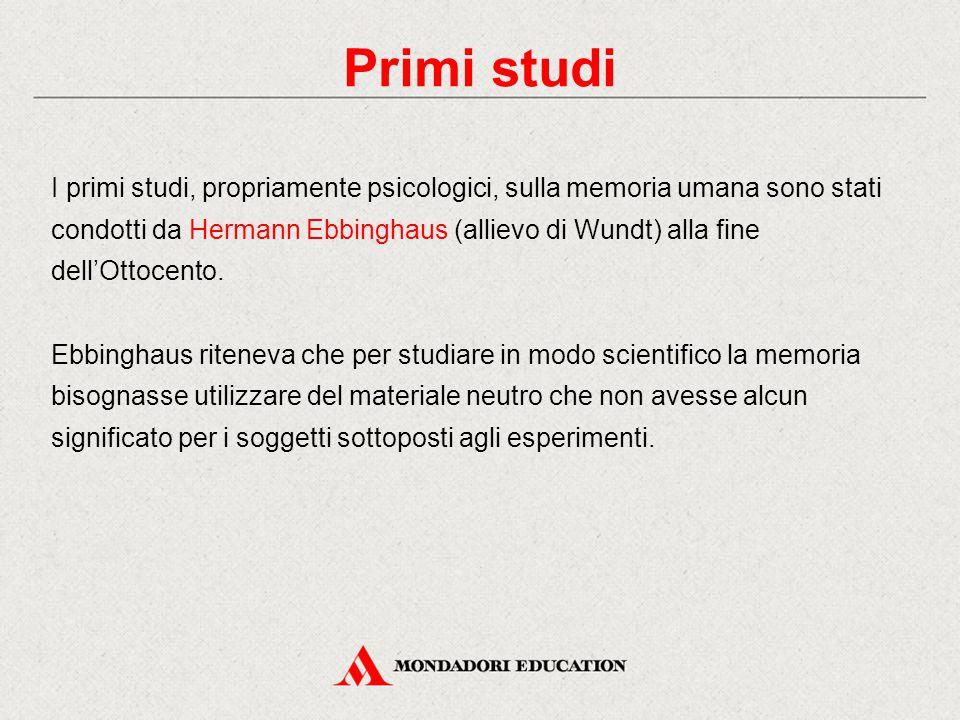 I primi studi, propriamente psicologici, sulla memoria umana sono stati condotti da Hermann Ebbinghaus (allievo di Wundt) alla fine dell'Ottocento. Eb