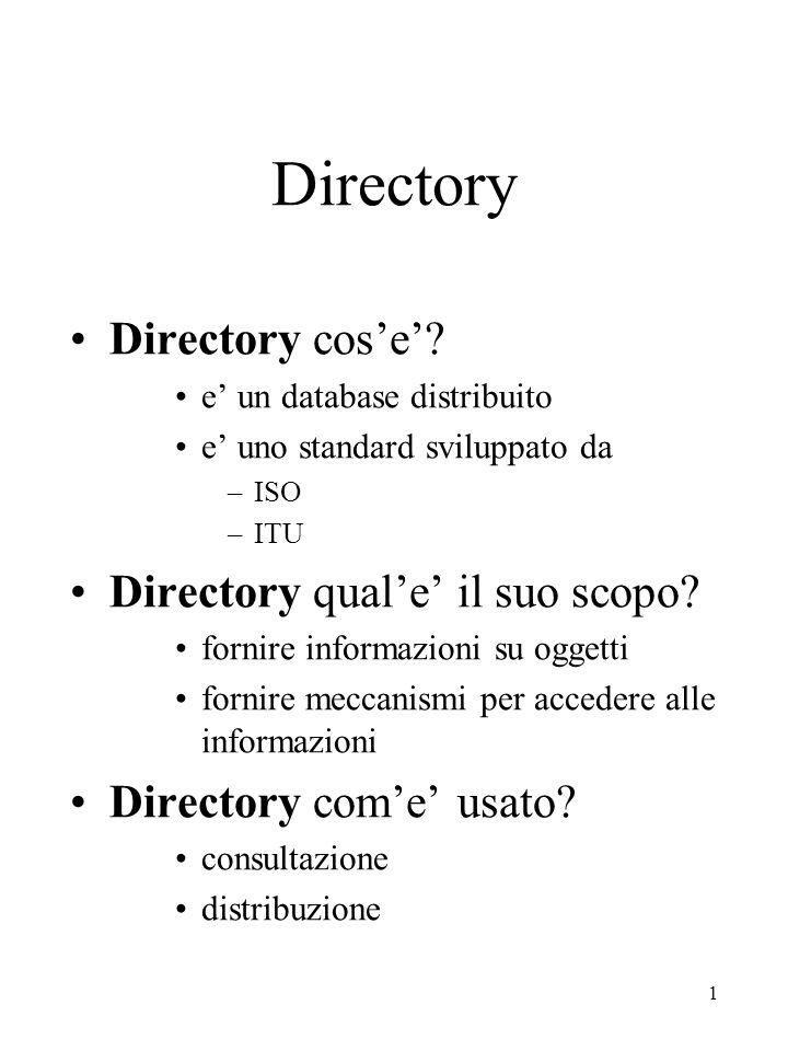 1 Directory Directory cos'e'? e' un database distribuito e' uno standard sviluppato da –ISO –ITU Directory qual'e' il suo scopo? fornire informazioni