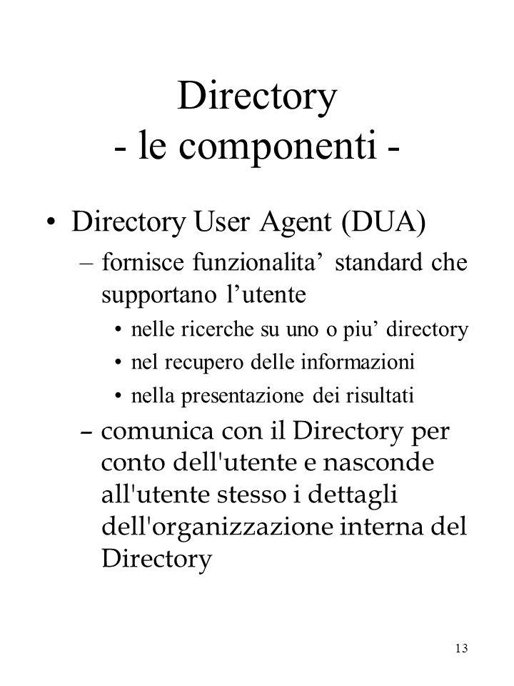 13 Directory - le componenti - Directory User Agent (DUA) –fornisce funzionalita' standard che supportano l'utente nelle ricerche su uno o piu' direct