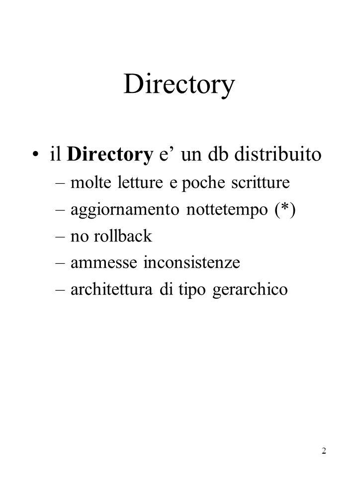 3 Directory Per esempio: un directory puo' contenere: –indirizzi e-mail, –user-authentication (login, passw) –network-security (access right), –sistemi in rete, –servizi in rete Queste informazioni possono essere accessibili alle applicazioni Sw oppure possono essere visibili agli utenti.