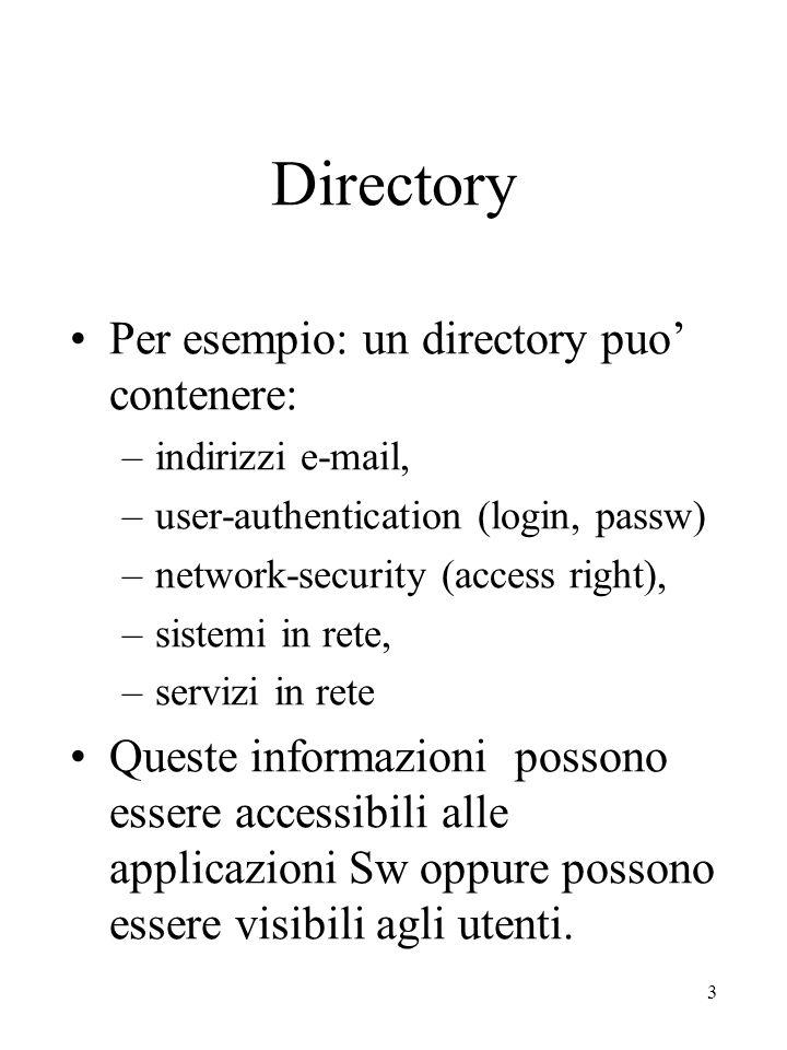 4 Directory - organizzazione - Quattro aspetti: –aspetto informativo descrive l'organizzazione dei dati –aspetto funzionale descrive le interazioni tra i vari componenti del Directory –aspetto organizzativo descrive la politica su cui si basano le relazioni tra le varie entità e le informazioni che esse gestiscono –aspetto sicurezza evidenzia gli aspetti di autenticazione ed autorizzazione