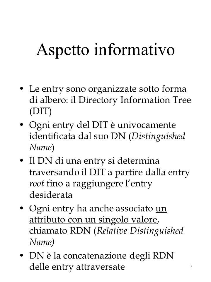 18 Aspetto Sicurezza politica di autenticazione definisce i meccanismi per identificare DSA e utenti tre tipi di autenticazione nessuna –accessi liberi debole –accesso regolato da password criptata forte –accesso regolato da coppie di chiavi pubblica/privata il meccanismo più utilizzato: access control list